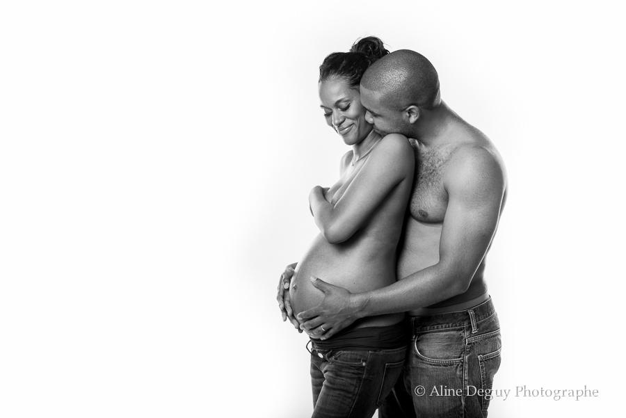photographe couple studio, grossesse, aline deguy, studio, paris, asnieres, courbevoie