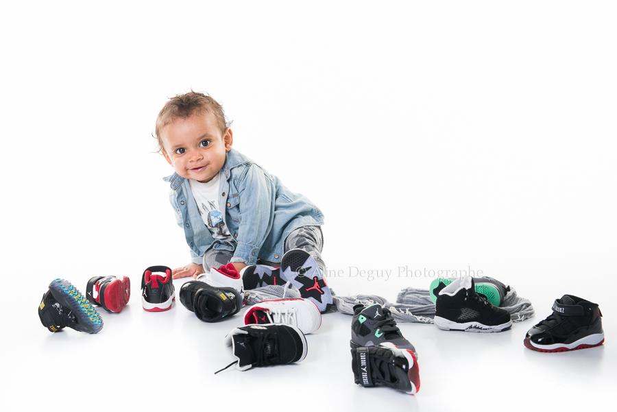 shooting, bébé, studio, fond blanc, photo