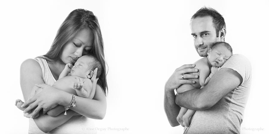 Photographe, naissance, studio, noir et blanc, bébé