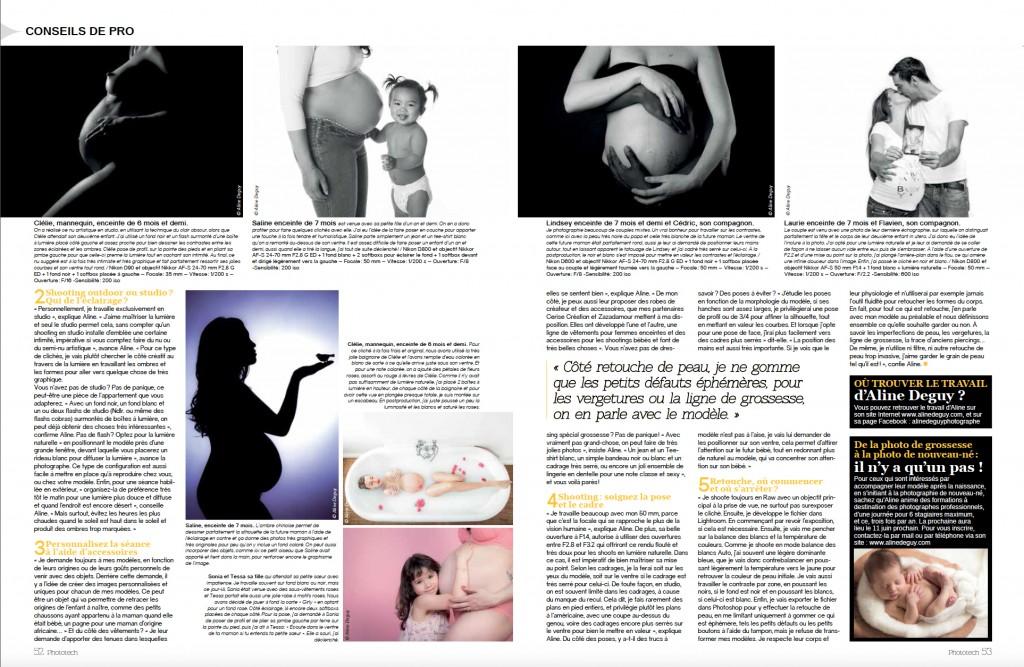 magazine, presse, publication, photographe, Aline Deguy, Paris, photographe professionnelle, femme enceinte, article, photo, images, grossesse, future maman, couple, nu artistique, studio, famille