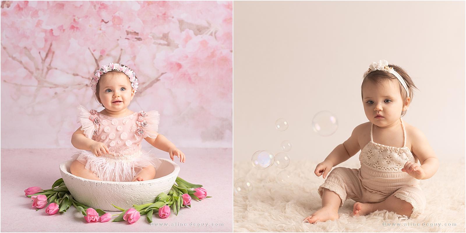 Photographe bébé studio 92, Jade, bébé yeux bleus